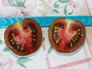 Black Zebra Cherry in zwei Hälften geschnitten