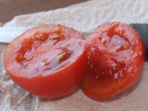 Halbierte Crovarese Cocktail-Tomate