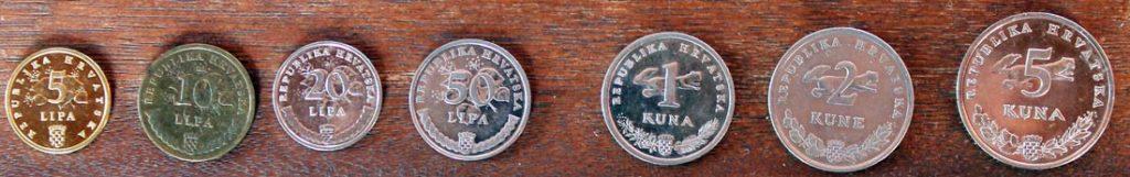 Kuna und Lipa Münzen in Kroatien