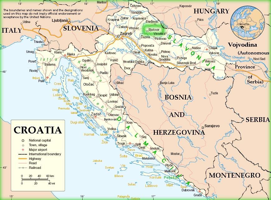 Übersichtskarte Kroatien mit Bjelovar im Hinterland.